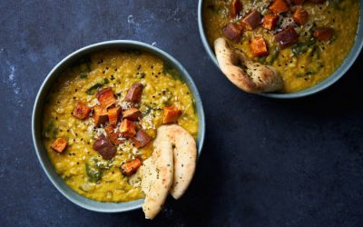 Dhal with Crispy Sweet Potato and Coconut Chutney